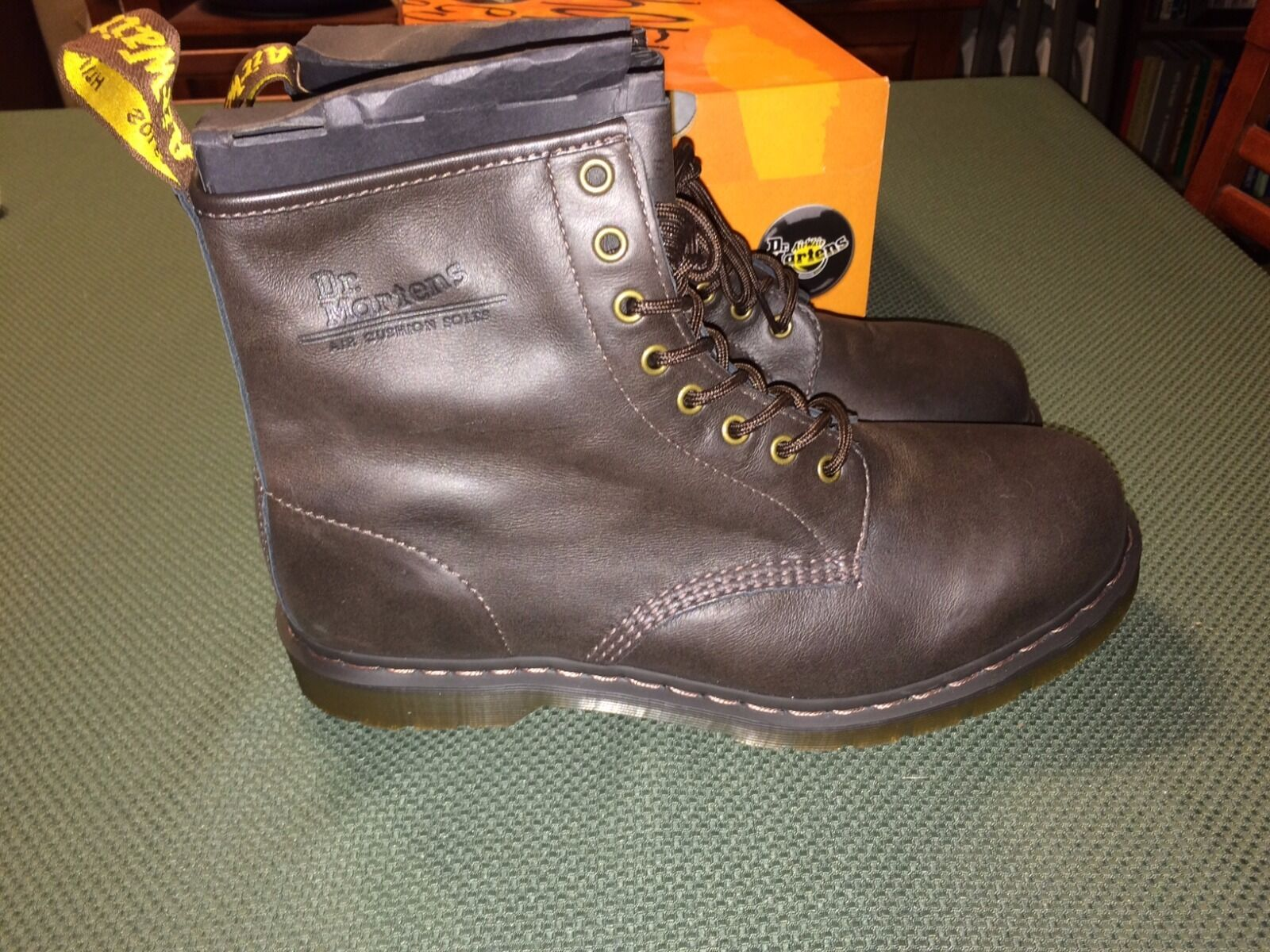 Doc Martens Dark Brown Boots Size Men 12 US 8 Eye Reg Toe New Made in China