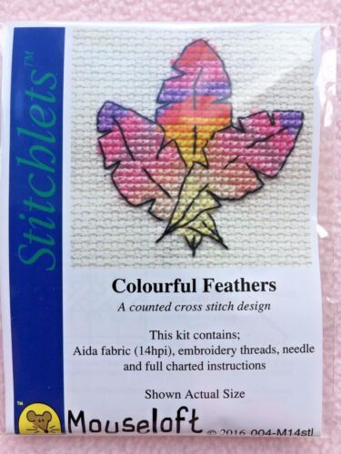 MOUSELOFT STITCHLETS Cross Stitch Kit ~ coloré plumes ~ NOUVEAU