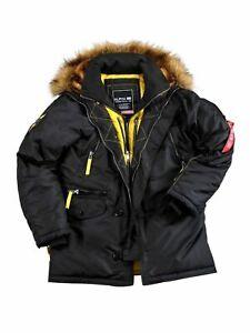 Details zu Alpha Industries Jacke N3B Parka PPS Schwarz Gelb Winterjacke 133148 03 5233