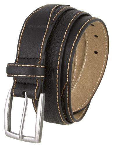 "Men/'s Belts Basketweave Leather Casual Dress Belt 1-3//8/"" Wide Multi Color"