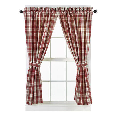 country rustic cabin farmhouse kitchen PICNIC BLUE /& white plaid TIER curtains