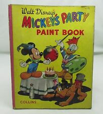 WALT DISNEY'S MICKEY'S PARTY PAINT BOOK VINTAGE MICKEY MOUSE DONALD DUCK c.1950s