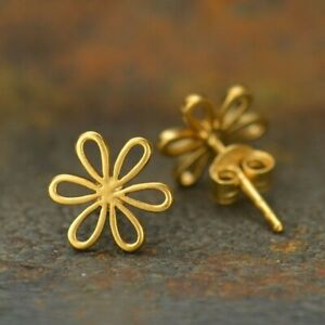 Daisy-Daisies-Flower-Floral-24K-Gold-Vermeil-Stud-Studs-Earrings-Gift-Girl
