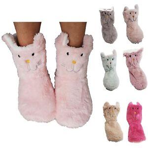 Botas-Casa-Gato-Mujer-Felpa-Antideslizante-Gatito-Suela-Goma-Pantuflas-Invierno