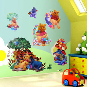 winnie the pooh tiger friends art wall stickers decals kids nursery room decor ebay. Black Bedroom Furniture Sets. Home Design Ideas