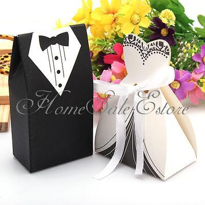 100X Tuxedo & Dress Bride Wedding Bomboniere Ribbon Boxes Favor Guest Candy Gift