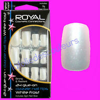 Kit 24 Faux Ongles & Colle Blancs - Chatoyant Scintillant - White Frosted Nails