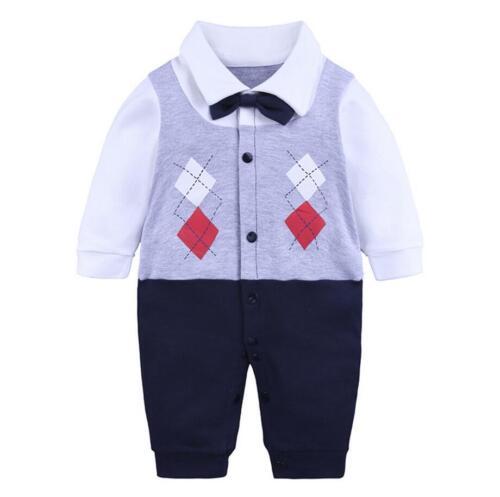1pc Baby clothes newborn infant boys cotton bodysuit party jumpers gentleman
