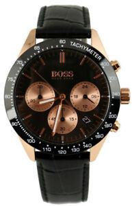 Boss-reloj-cronografo-hombre-Hugo-Boss-acero-inoxidable-Rose-oro-negro-1513580-cuero-negro