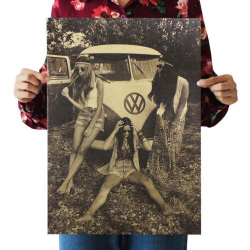 US SELLER hippie retro girls poster cabin decor