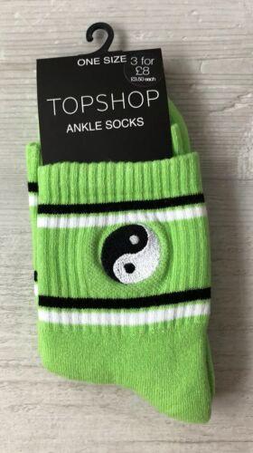 Femmes//Filles Vert Vif la paix à rayures épaisse Sportif Coton Tube Socquettes