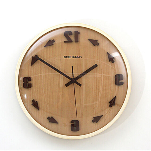 Wooden Analog Runs Counterclockwise Reverse Wall Clock Backwards in Time Novel