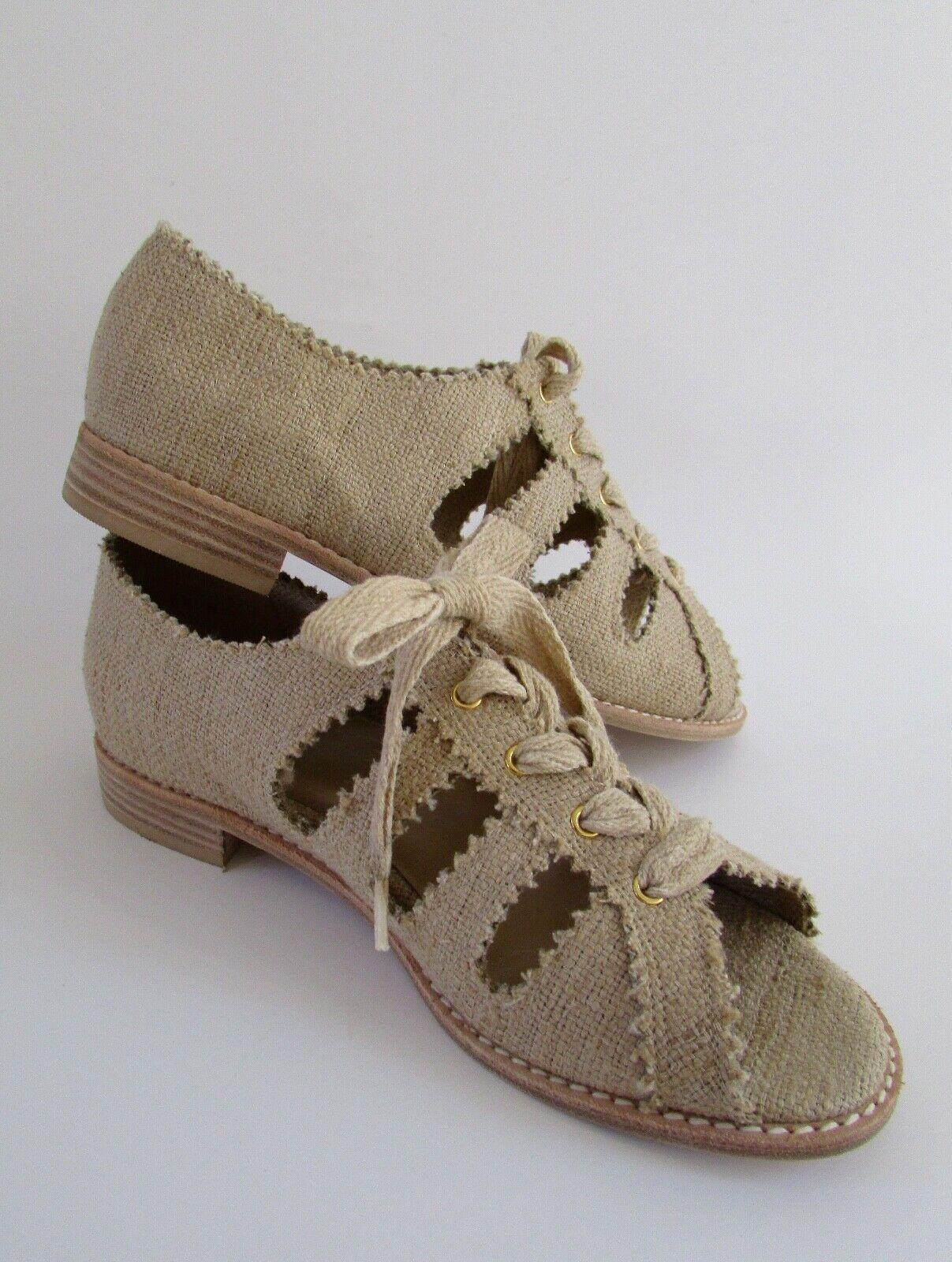 Ritorno di 10 giorni NEW Stuart Weitzman Burlap Lace Up Open Toe Toe Toe Oxford Flats Sz 6.5  negozio online