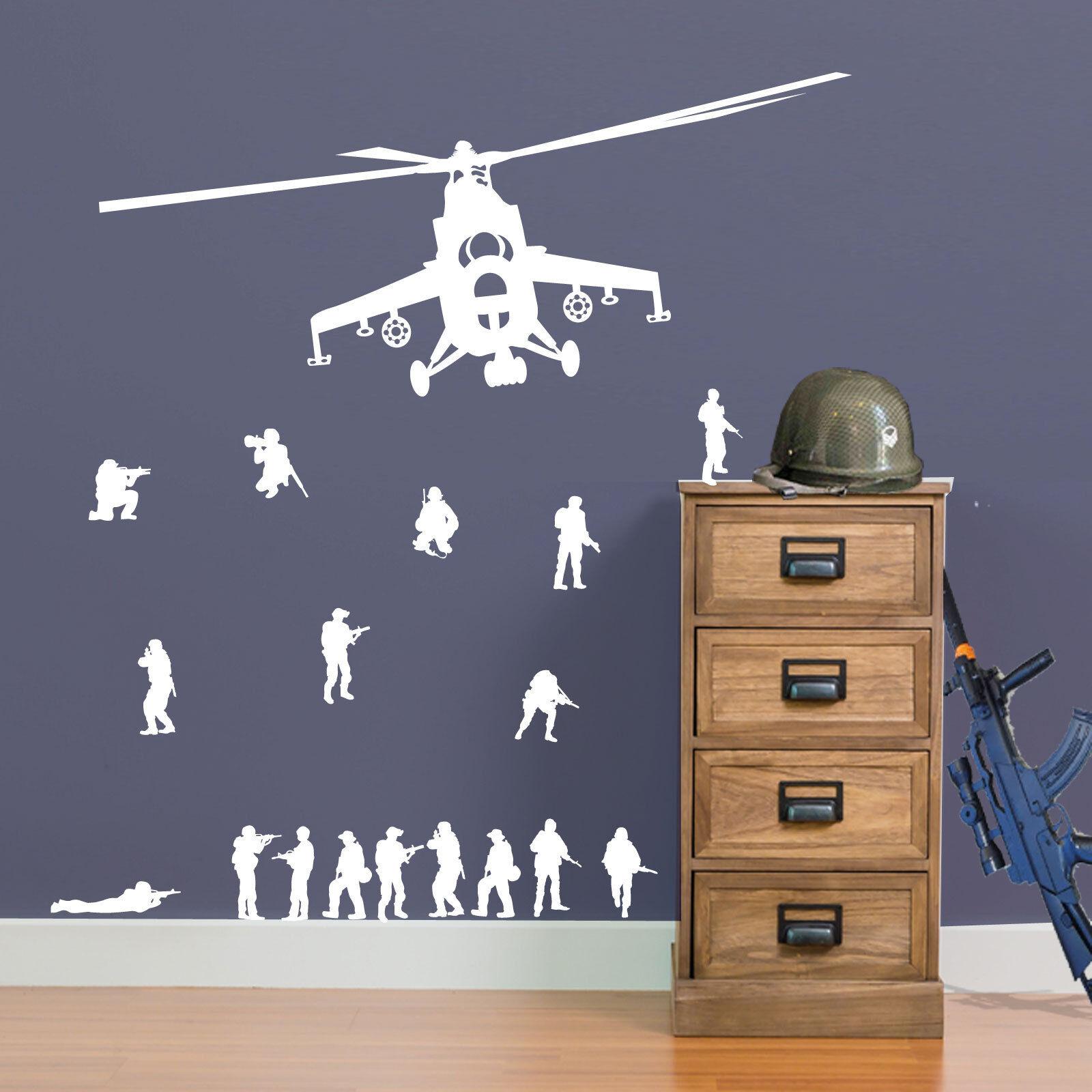s l1600 - 17 Ejército Hombre Soldado y Militar Helicóptero Pegatina Vinilo Pared Niños A9