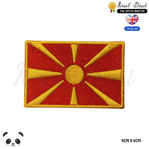MACEDONIA-National-Flag-Embroidered-Iron-On-Sew-On-Patch-Badge-For-Clothes-etc