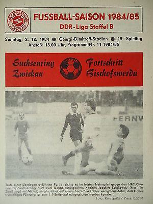Programm 1984//85 BSG Sachsenring Zwickau Vorwärts Dessau