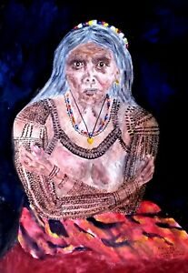PHILIPPINES-KALINGA-TATTOO-LADY-WHANG-OD-ORIGINAL-WATERCOLOR-PAINTING