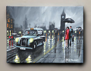 ORIGINAL-FINE-ART-OIL-PAINTING-BY-PETE-RUMNEY-039-CATCH-A-CAB-IN-LONDON-039-BIG-BEN