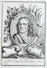 c1770 Schärrer Hans Jakob Maler Stuckateur Schweiz Kupferstich-Porträt
