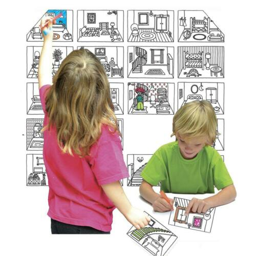 Colour in Eggnogg Postcard Pocket Book Pop Up House Dino Fairies World Map