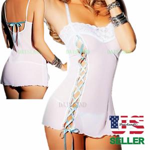 Sexy-Lace-Lingerie-Sleepwear-Women-039-s-G-string-Underwear-Teddy-Babydoll-Nightwear