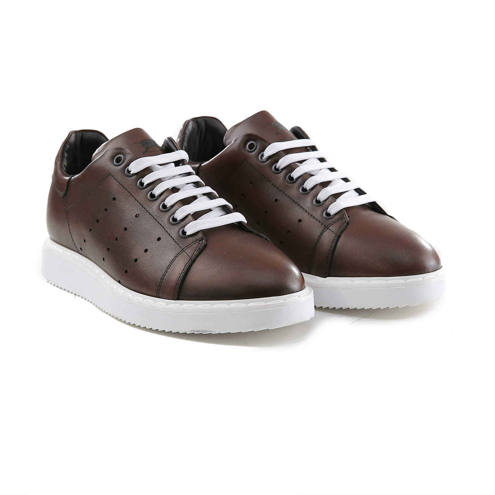 Sneakers men in Pelle color Cuoio shoes Basse Sportive men Made in