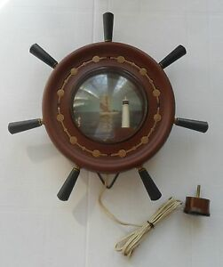 Wheelhouse Wall Lamp Dark Antique : Vintage USSR Nautical Maritime Wall Table Decor Ship Wheel with Lighthouse Lamp eBay