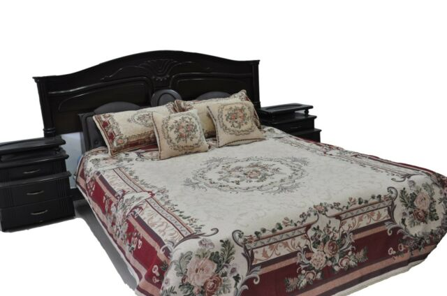 New 3  5 Pc Chenille Woven Yuletide Blossom Medallion Floral Quilt Bedspread Set