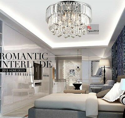 New Contemporary Crystal Ceiling Light Fixture Pendant Lamp Chandelier Lighting
