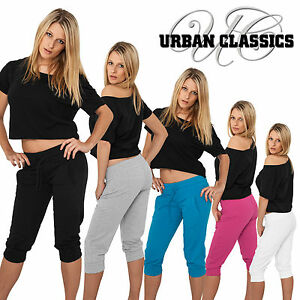 URBAN-CLASSICS-DAMEN-LADIES-FRENCH-TERRY-CAPRI-3-4-HOSE-JOGGINGHOSE-SWEAT-XS-L