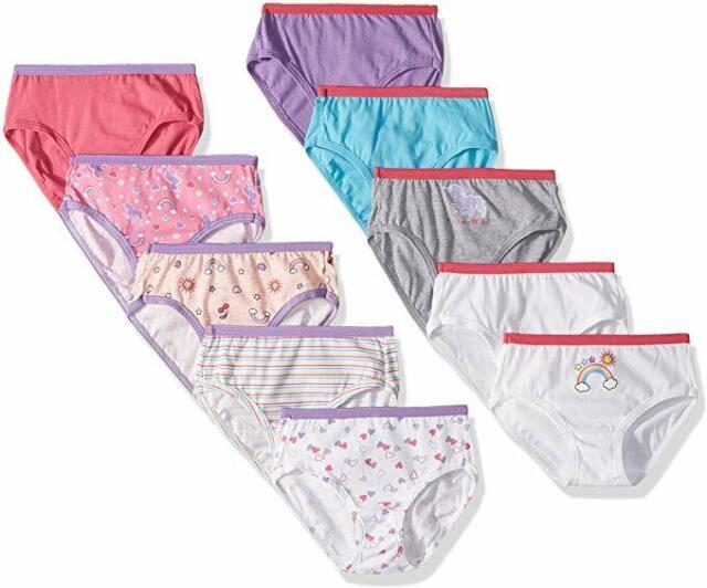 Hanes Girls Tagless 100/% Cotton Briefs Breathable 10 Pack Underwear Size 12 16
