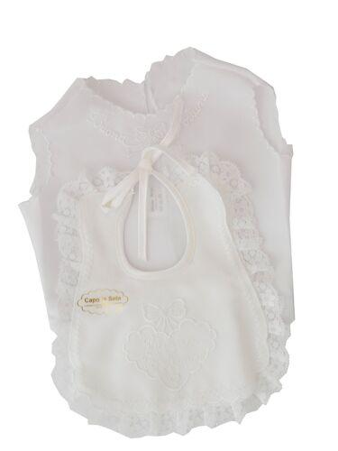 Camicina della fortuna e bavetta completo in seta Nancy baby colore avorio panna