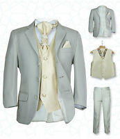 SIRRI Page Boys Formal Beige Gold Wedding Suit, 5PC Boys Grey Suit Age 1 to 15