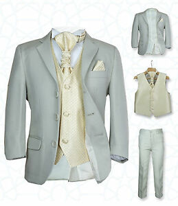SIRRI Page Boys Formal Beige Gold Wedding Suit 5PC Boys Grey Suit