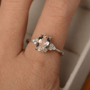 14K-Solid-White-Gold-Diamond-2-15-Ct-Oval-Cut-Morganite-Engagement-Ring-Size-N-O