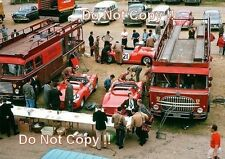 Ferrari Transporters & Race Cars in the Paddock area Le Mans 1963 Photograph