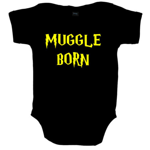 MUGGLE BORN WIZARD FUNNY BABY GROW VEST SHOWER GIFT FREE UK POSTAGE