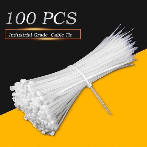 3x100mm Nylon Plastic Zip Wire Cable Ties 100pcs White  Self-Locking Fasten Loop