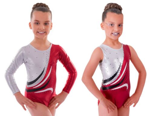 'Eve' Metallic Red and Black with Wave & Diamante Gymnastic Gym Dance Leotard