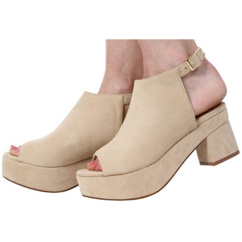 Pour femme bout ouvert talon bloc cheville sangle sandales chaussures taille 3-8