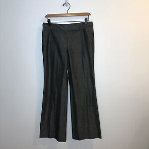 Ann Taylor Factory Signature Fit Wide Leg Trouser Pants Gray Metallic Marled 2