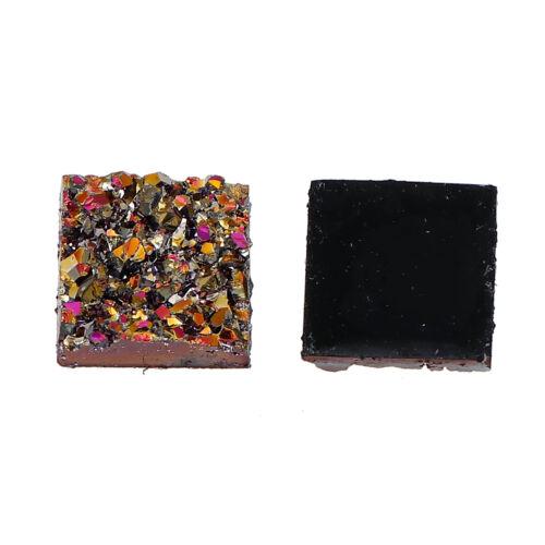 ❤ 10 x Resin DRUZY Flatback 12mm Cabochon SQUARE Embellishment Choose Colour UK❤