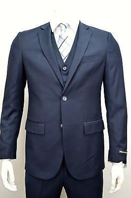 Men's Navy Blue 3 Piece 2 Button Slim Fit Suit SIZE 40R NEW
