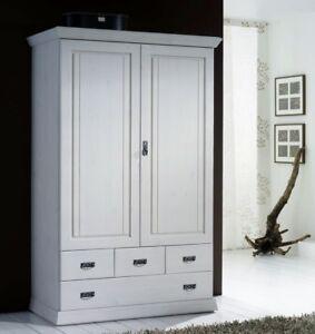 Massivholz Kleiderschrank Weiß Lasiert Kiefer Wäscheschrank Dielen