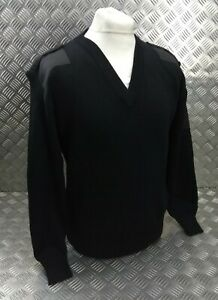 Genuine British M.o.D and Police Spec Black V Neck Uniform Pullover Small JP1