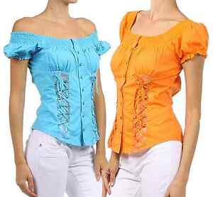 Womens-Summer-Flirty-Blouse-Lace-Up-Short-Sleeve-Off-the-Shoulder-Adjustable-Top