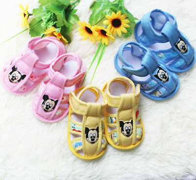 baby Girl boy shoes flower mickey sandals Soft bottom infant shoes first walkers