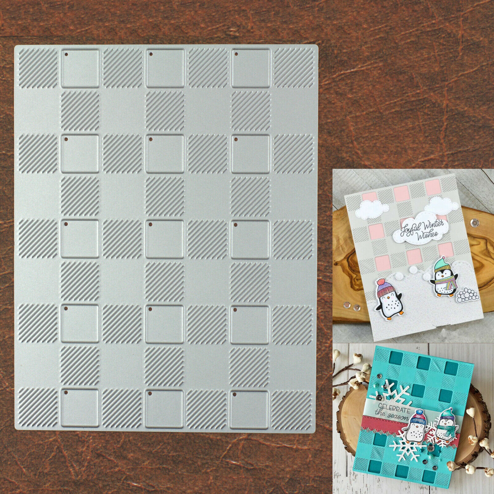 New Style Christmas Checkered Plaid Squares Background Cutting /& Embossing Die