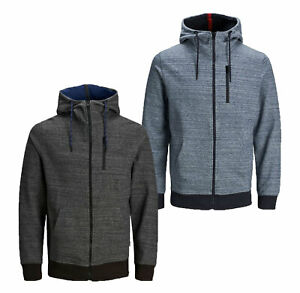 Mens-New-Jack-amp-Jones-Full-Zip-Hoodie-Sweatshirt-Hooded-Top-Black-Grey-Sky-Blue