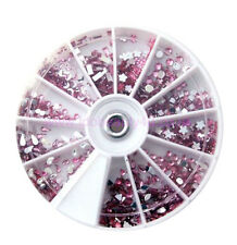 PINK NAIL ART MIXED GEMS STAR JEWELS DESIGN CRAFT FOR NAILS Manicure  8cm wheel